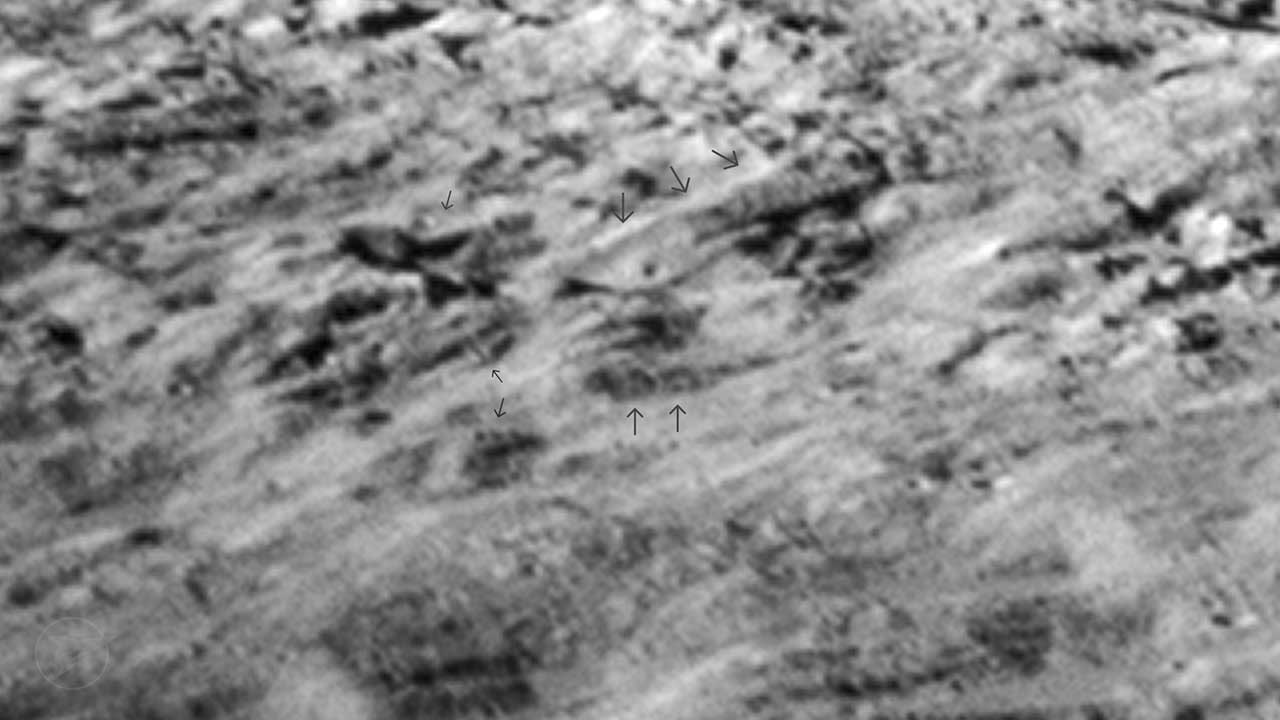 [Fig. 1] Cluster of highly geometric shapes found on the Moon resembling ancient structures.
