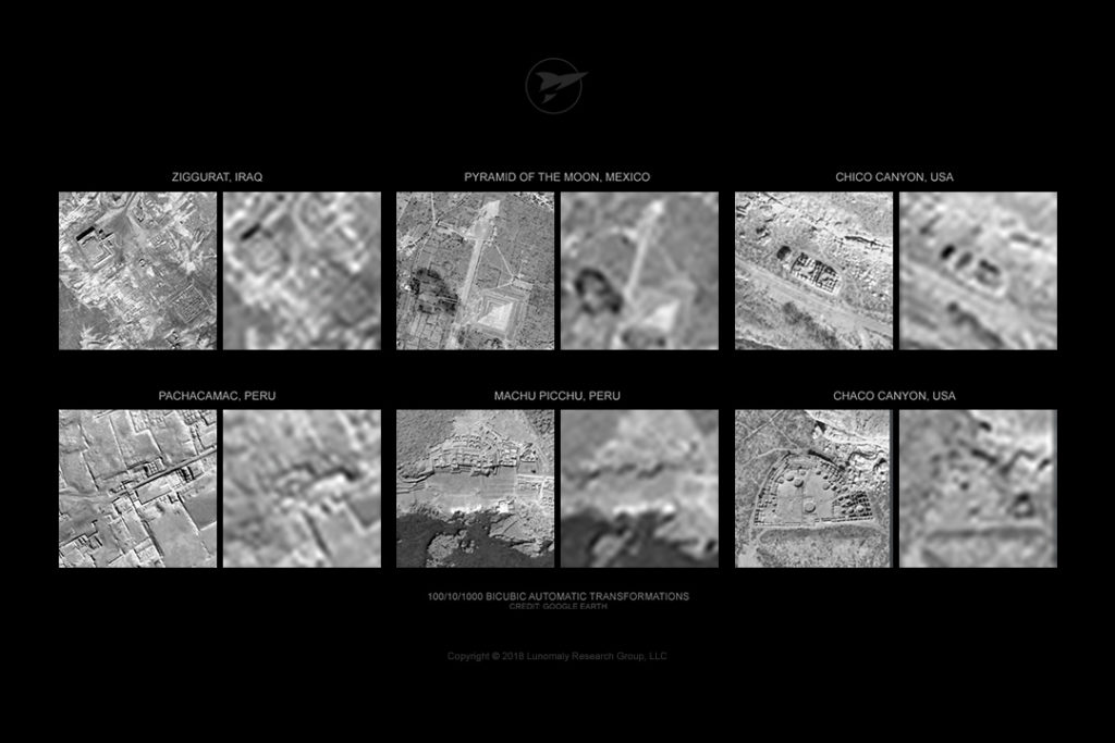 Image degradation examples of ancient structures on Earth (google earth)